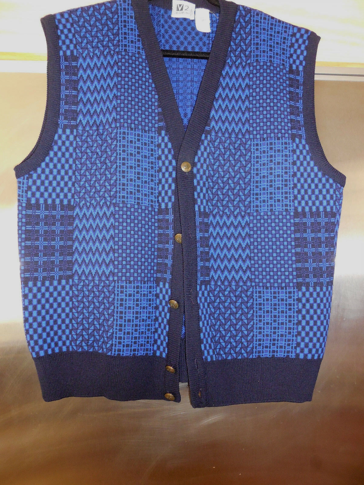 VINTAGE VERSACE's V2 Sweater Vest Royal Blau geo  button down  Medium  Herren