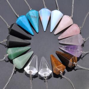 Chakra-Crystal-Quartz-Gemstone-Pendulum-Healing-Dowsing-Reiki-Pendant-Chains-Sv