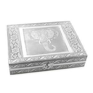"""Shop LC Handcrafted Aluminum Elephant Wisdom Embossed Gift Jewelry Box 9x2x7"""""""