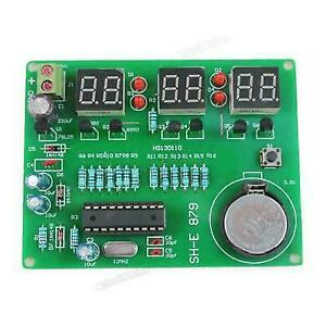 DIY PCB Circuit Board 9V-12V AT89C2051 6 Digital LED Electronic Clock Alarm  Kit