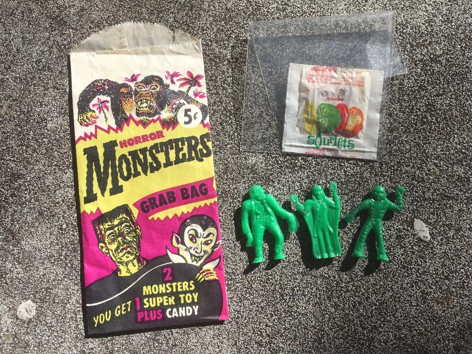 Vintage década de 1960 mejor plásticos Terror Monstruos Grab Bag  plano Palmer  raro verde
