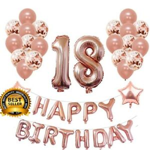 Yoart 18th Birthday Decorations Rose Gold For Women And Girl Party Supplies 32 Ebay