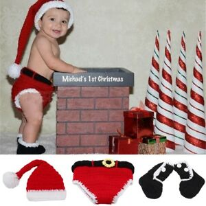 6592e9d5d881b Details about Funny Baby Xmas Santa Claus Costume Knit Hat Photography  Props Outfit Cloth PS