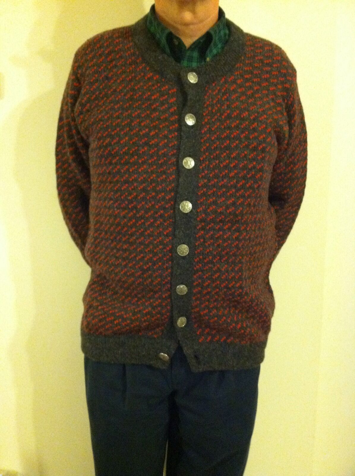 LL Bean Snowflake Button Cardigan Sweater Wool Mens Large Tall