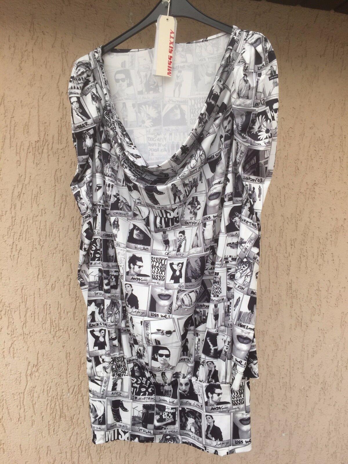 NEU Kleid von MISS SIXTY , Gr. L ,schwarz weiß, mit Comic-Motive