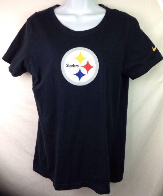 Nike Pittsburgh Steelers T Shirt XL Womens Slim Fit Cap Sleeves NFL Black