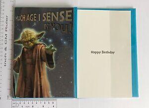 Image Is Loading Large Star Wars Birthday Cards Yoda Amp Darth
