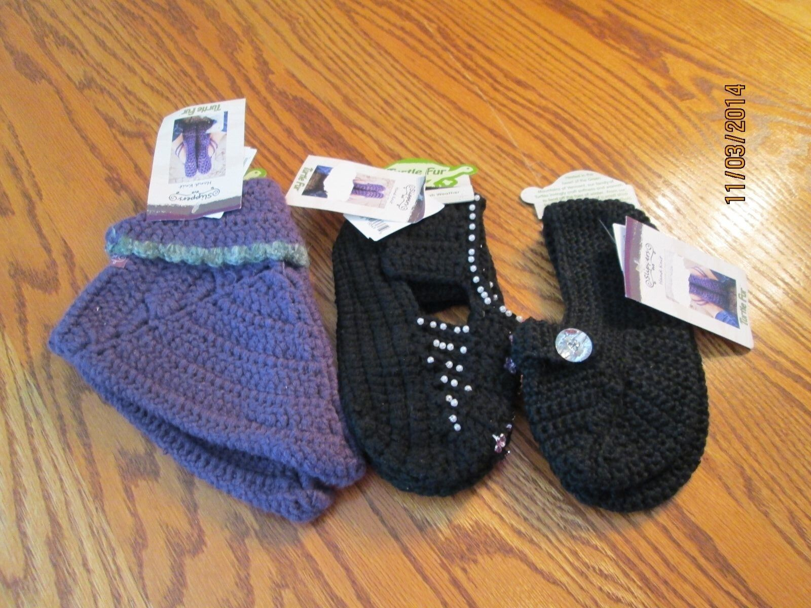 TURTLE FUR WOMEN'S HAND KNIT SLIPPERS VARIOUS COLORS SIZES NWT