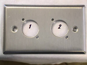 Leviton-Stainless-Steel-Wall-plate-Single-Gang-Two-Neutrik-034-D-034-Holes-USA-Made