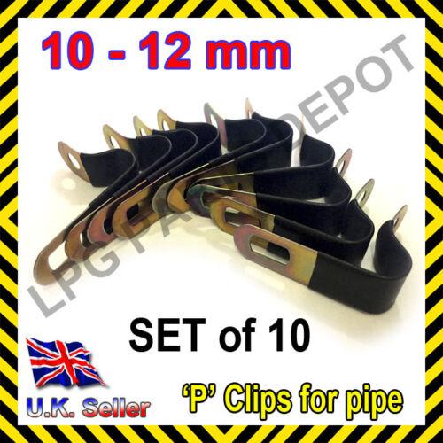 LPG GPL 10mm-12mm COPPER PIPE P clips x 10 SET gas propane caravan car motorhome