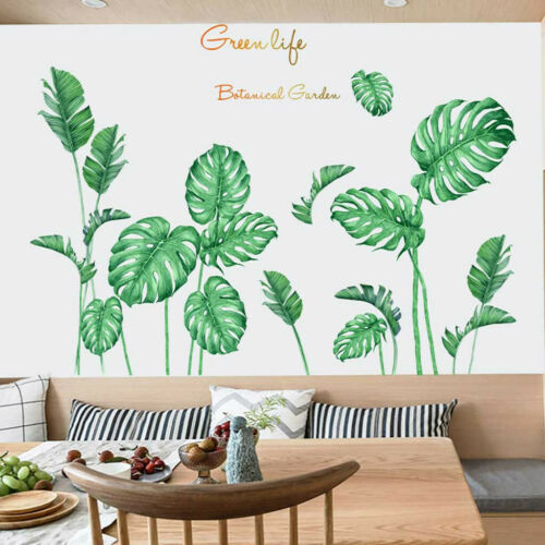 TROPICAL LEAVES GREEN PLANT WALL STICKERS VINYL DECAL LIVING ROOM ART MURAL UK