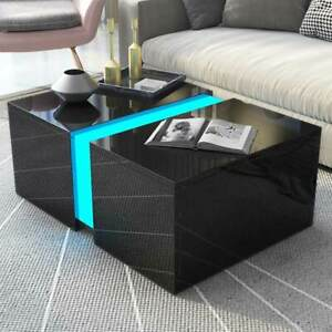 Details About Modern High Gloss Black Coffeeside Table Living Room Furniture Rgb Led Light