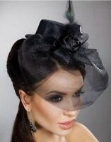 Steampunk/Burlesque/Vintage Mini Top Hat Fascinator with Rose Veil -Gothic Bride