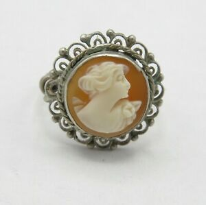 Vtg-Art-Deco-Sterling-Silver-Filigree-Carved-Shell-Cameo-Ring-Sz-S-6