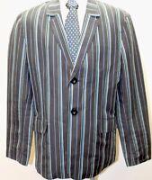 Calvin Klein Black Stripe Blue Gray Men Blazer 2 Buttons Lg Cotton Sports Jacket