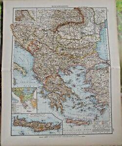 Old Map Weltkarte Balkanhalbinsel Walachei Kreta Oder Kriti