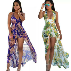 abbd416ef7d Image is loading Sexy-Women-Chiffon-Jumpsuit-Romper-Short-Trouser-Bodycon-