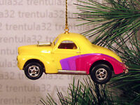 '40 '41 Willys Coupe 1940 1941 Yellow Purple Christmas Ornament Xmas
