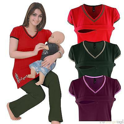 WOMENS NURSING SHORT SLEEVED V NECK ZIP BREASTFEEDING LADIES PJYAMA SET 8-18