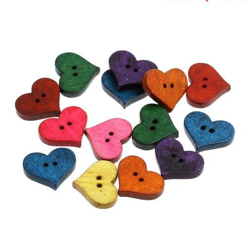 20 en forme de coeur en bois boutons couleurs mélangées de couture 2 trous 20 x 16,5mm free p/&p
