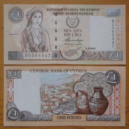 Cyprus Paper Money 1 Pound 2004 UNC