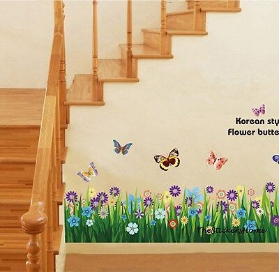 Large Flower & Butterfly Floral Art Decal Wall Stickers Home Decoration Window