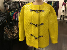 Balenciaga Sz 36 Yellow Gray Patent Wool Knit Coat Runway 2015 - NWT
