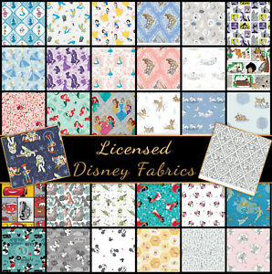 Disney-Licensed-100-Cotton-Fabric-Fat-Quarters-Half-Metres-Metres