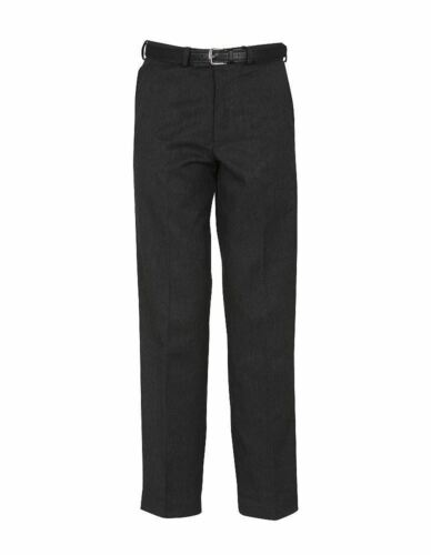 Charcoal Flat Front Sturdy Fit Trousers Black Navy 24-50in Waist Grey