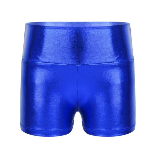Girls Shiny Boxer Shorts High Waist Gym Yoga Sports Bottoms Activewear Dancewear