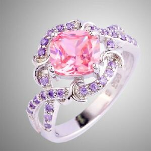 EXQUISITE-PINK-TOPAZ-AND-CRYSTAL-SILVER-PLATED-RING-SIZE-7