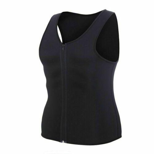 Men/'s Sweat Sauna Waist Trainer Zip Vest Weight Loss Top Neoprene Body Shaper US