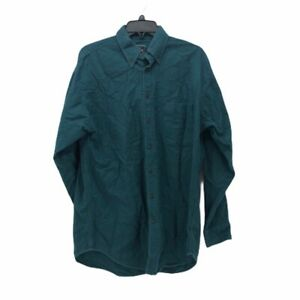 Woolrich-Mens-Chamois-Flannel-Oxford-Shirt-Green-Cuffed-Long-Sleeve-Pocket-M