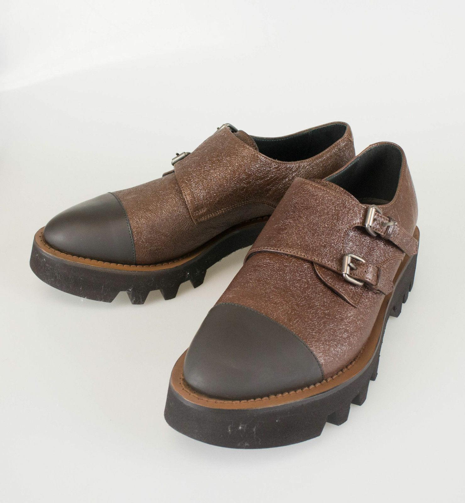 Nuevo. BRUNELLO CUCINELLI Marrón Cuero Doble monkstrap zapatos talla 8.5 38.5  1355