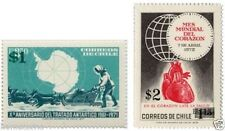 Chile 1982 #1038-39 Sellos 1972 Con nuevos valores Antarctic MNH