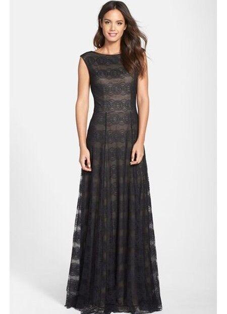 New Vera Wang Sleeveless Black Lace Overlay Long Gown Dress Sizes 2 ...