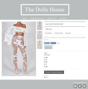 Belle Dolls The Ava Crop 10 M Satin Authentic Roma Top Ivory Sleeve House White qT405wFxw