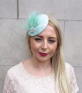 Image is loading Mint-Green-White-Feather-Fascinator-Pillbox-Hat-Hair- 4246c56b279