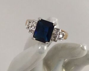 Vintage-Jewellery-Gold-Ring-with-Blue-White-Sapphires-Antique-Deco-Jewelry-9-S