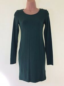 BNWT-H-amp-M-dark-green-long-sleeve-jersey-shift-stretch-dress-size-XS-6-8-New