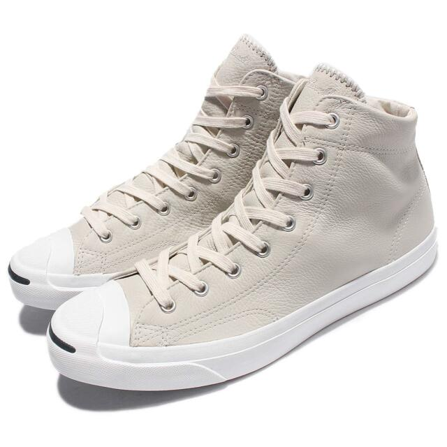 7854c8eafcf Converse Jack Purcell Jack Mid Beige White Men Leather Shoes Sneakers  155719C