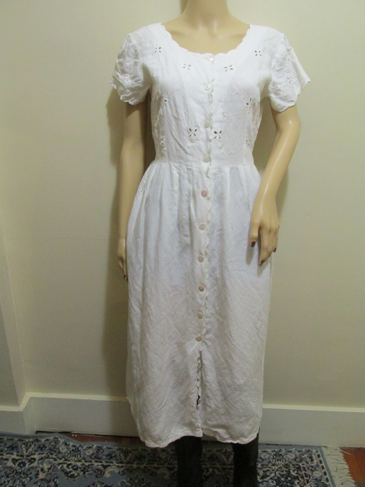WHITE Eyelet dress short sleeve COTTON Button Down EYELET SUNDRESS DRESS L