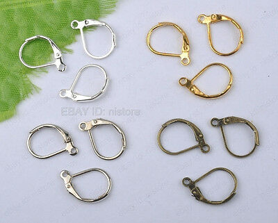 Silver/Gold/brzone/nickel 4color copper France Earring Hook Findings Clasps 15MM