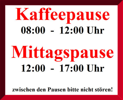 """Kaffeepause Mittagspause /""""Schreibtischunterlage/"""" abwaschbar laminiert Kunstdruck"""