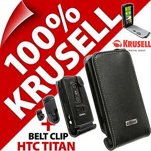 Krusell-Orbit-Flexible-funda-de-piel-con-tapa-Clip-Cinturon-para-HTC-Titan