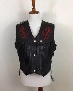 63d236a94 Details about Leather King Vintage Women Black Leather Fringe Red Cut Out  Biker Rocker Vest M