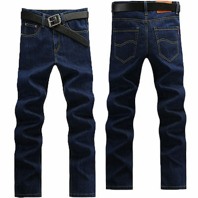 New Mens Classic Straight Denim Jeans Trousers Regular Fit Navy Blue HOT