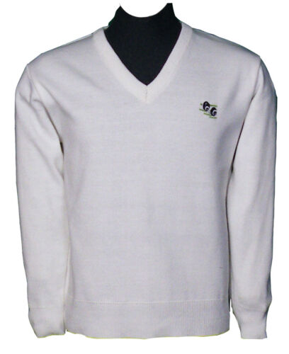 Men Lawn Bowling V-Neck White Jumper 100/% Acrylic S To 5XL Top 450 Grams weight