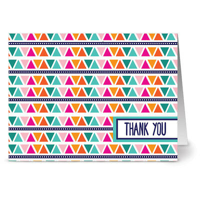 24 Note Cards Tribal Triangle Thank You Aqua Blue Ocean Envs