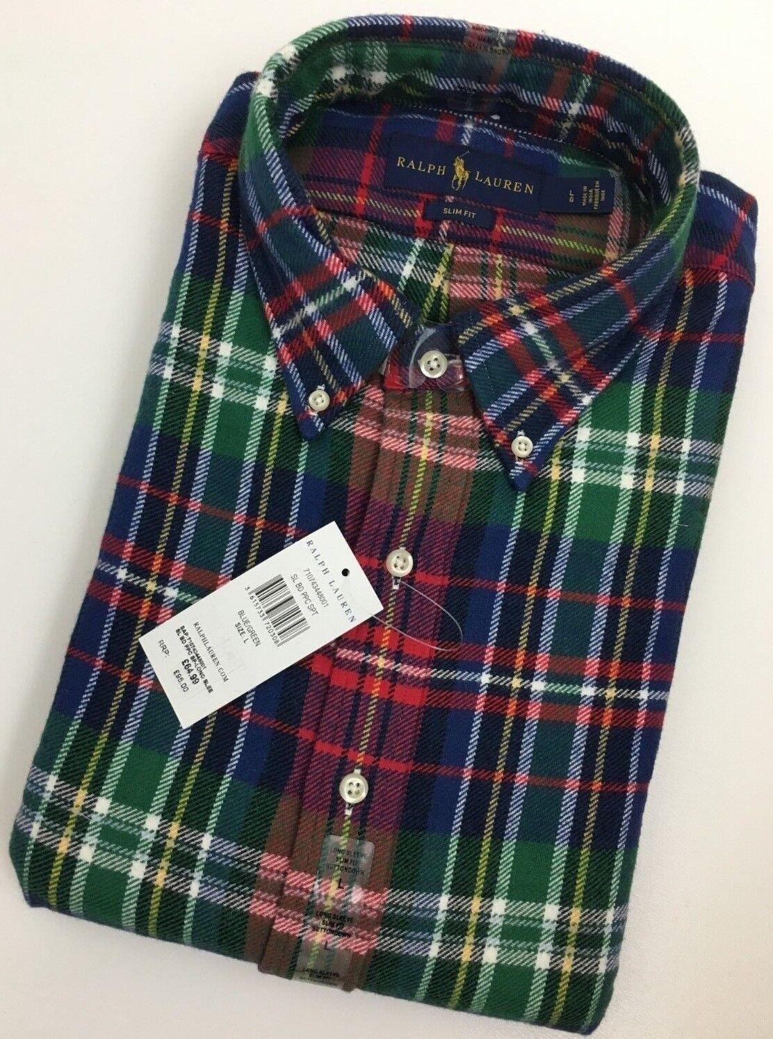 POLO Ralph Lauren cotone spazzolato BUTTON-DOWN Check Camicia PRP
